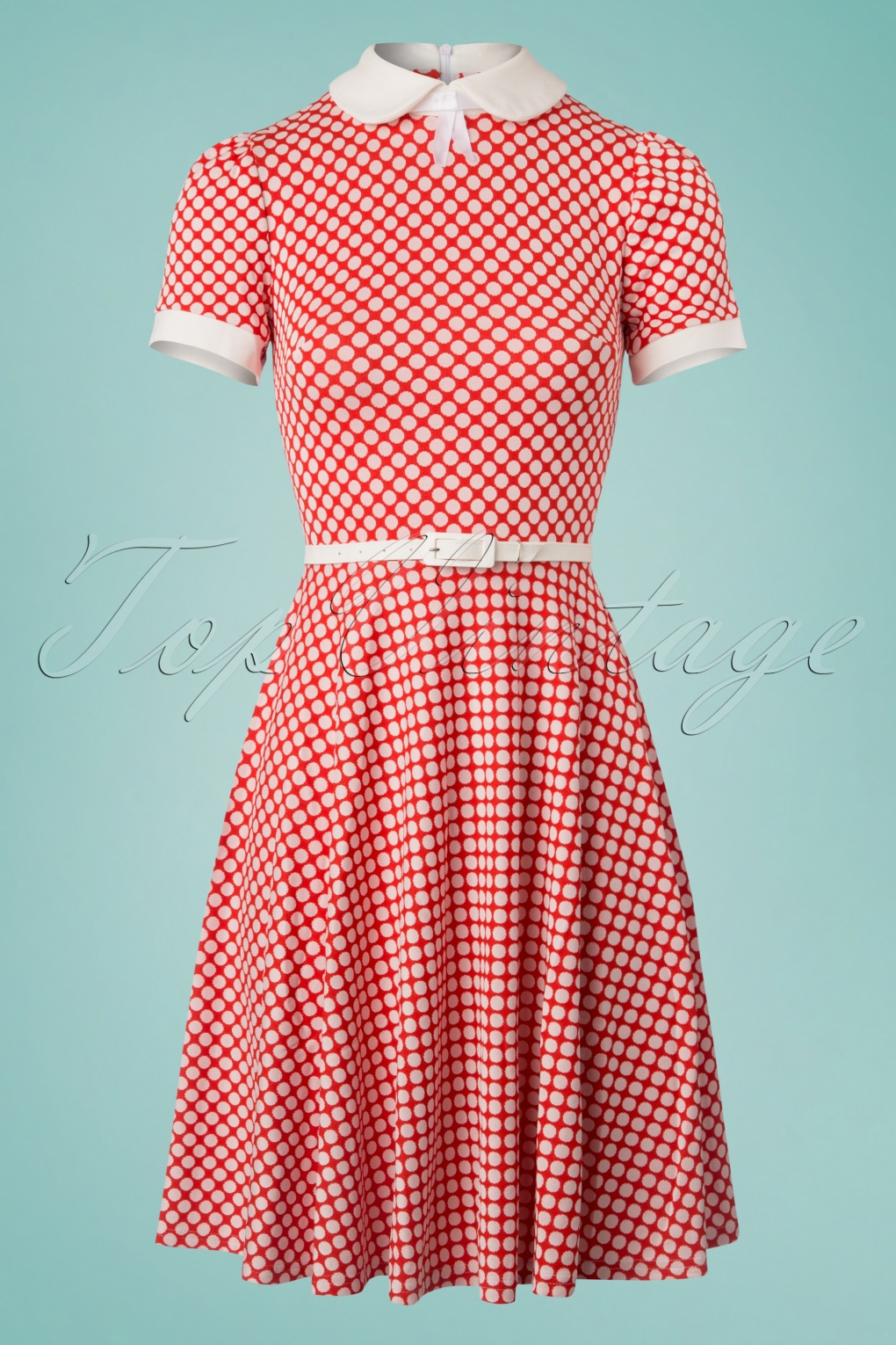500 Vintage Style Dresses for Sale 60s Jersey Polkadot Flared Dress in Red and White £118.40 AT vintagedancer.com