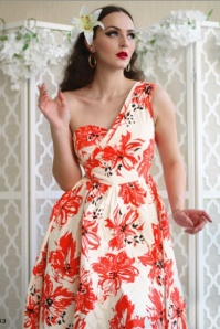 Stop Staring!  Flower Print One Shoulder Swing Dress 102 59 24551 20180515 1