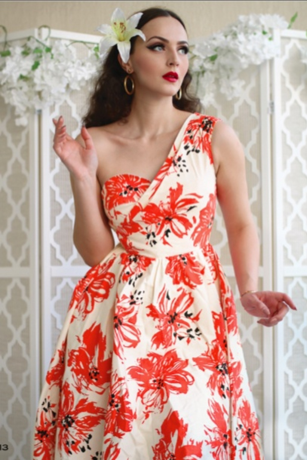 1950s Swing Dresses | 50s Swing Dress 50s Aida Floral Swing Dress in Coral £193.09 AT vintagedancer.com