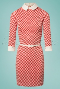 60s Jersey Polkadot Fitted Dress in Red and White