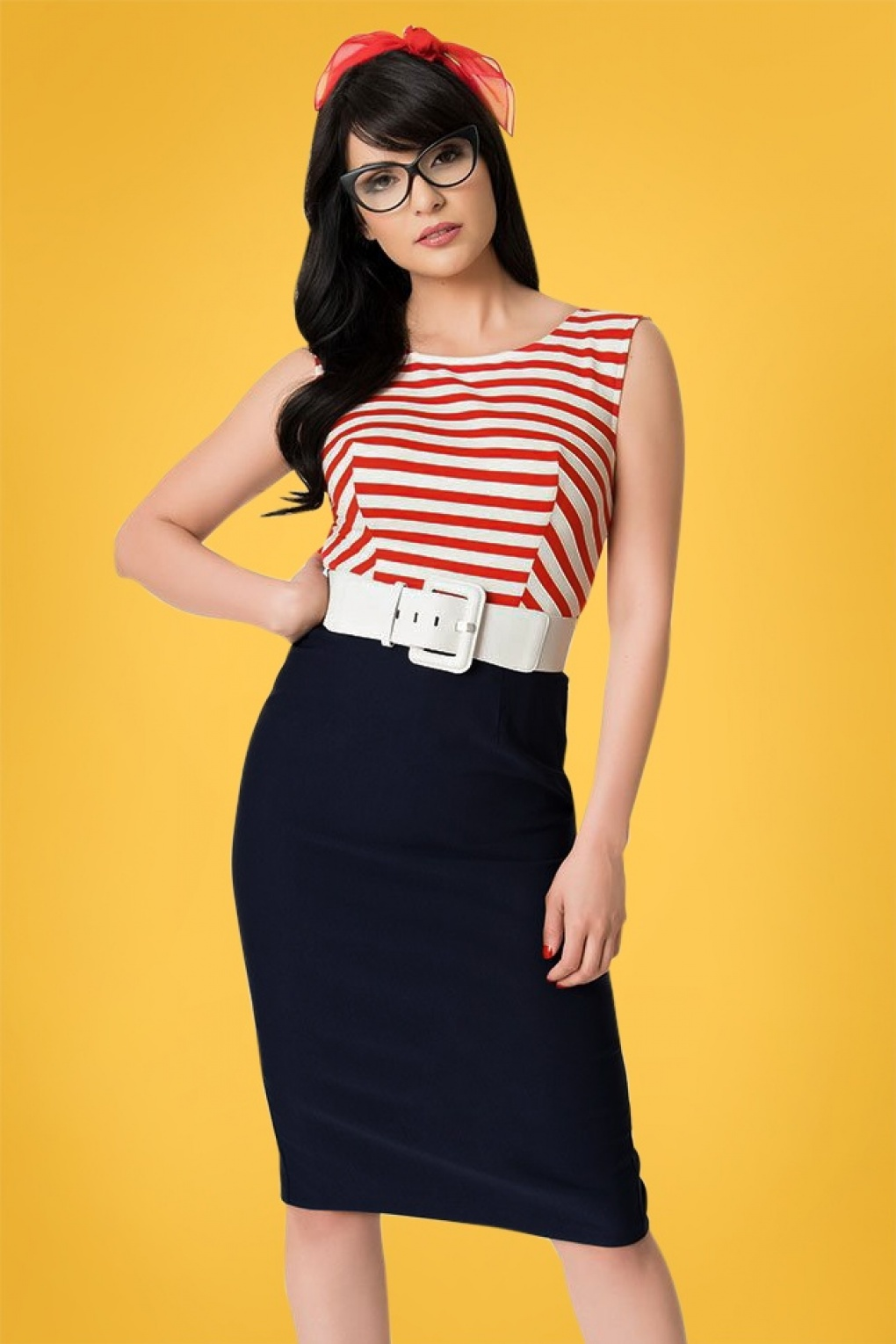 Sailor Dresses, Nautical Dress, Pin Up & WW2 Dresses 50s Barbie Cruise Stripes Nautical Pencil Dress in Navy and Red £123.84 AT vintagedancer.com