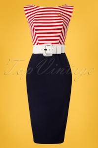 Unique Vintage Barbie Collection Cruiser Sailor Striped Pencil Dress 100 31 25975 20180508 0001W