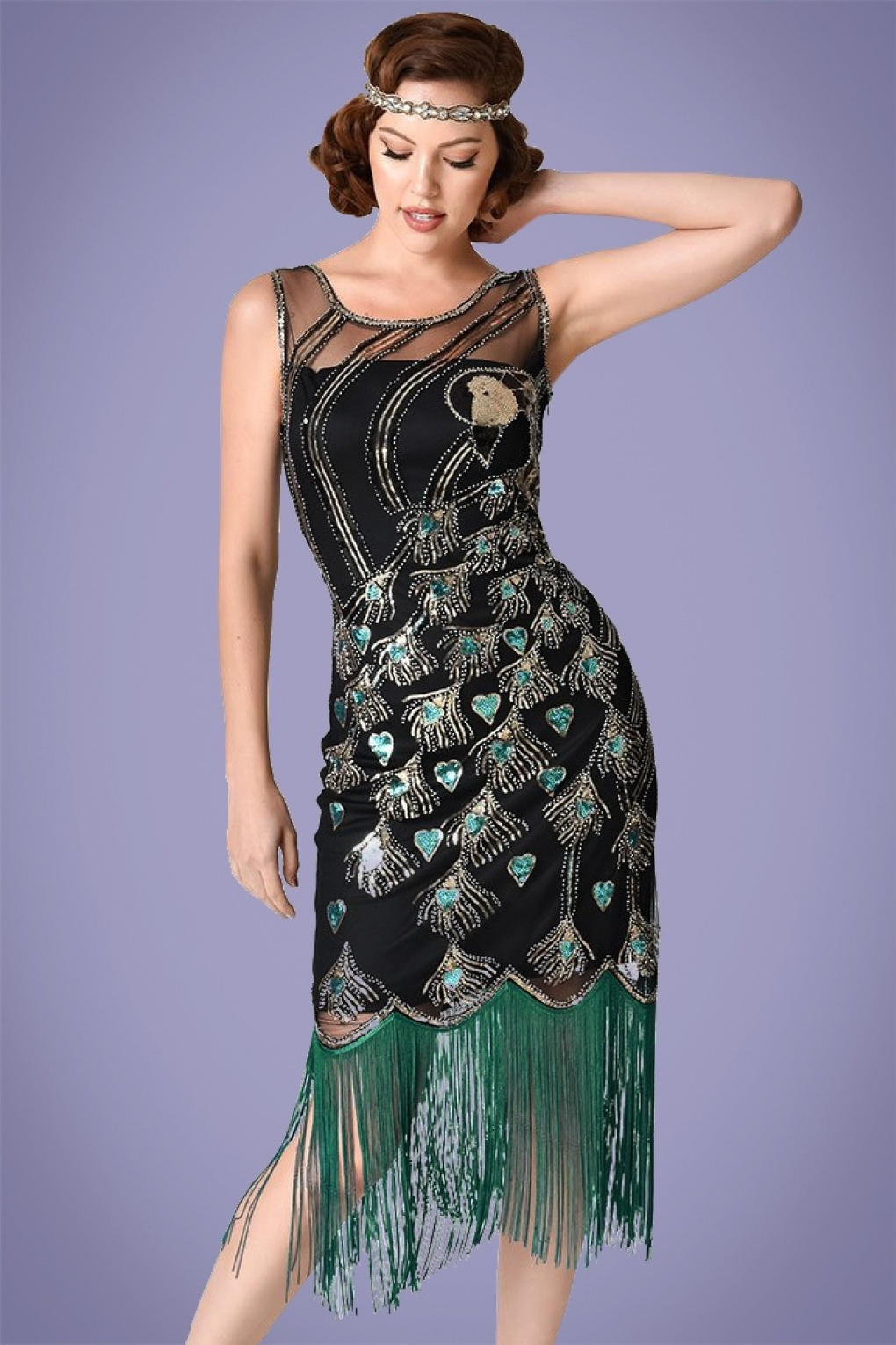 1920s Style Dresses, Flapper Dresses 20s Antoinette Beaded Peacock Flapper Dress in Black and Green £114.81 AT vintagedancer.com