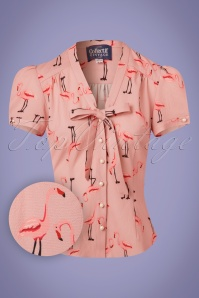 Collectif Clothing Tura Flamingo Blouse in Pink 22824 20171122 0002W1