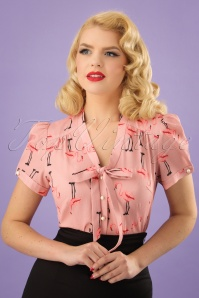 40s Tura Flamingo Blouse in Pink