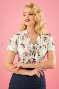 Collectif Clothing Tura Pansy Blouse in Ivory 22825 20171121 01W