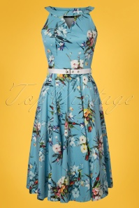 50s Lizzy Floral Swing Dress in Light Blue