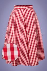 Compania Fantastica Red Checked Skirt 122 27 24465 20180515 0002W1
