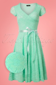 50s Dorien Lace Swing Dress in Mint