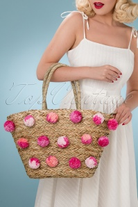 50s Pink Pom Pom Shopper in Natural