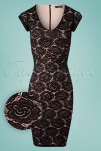 50s Gloria Rose Pencil Dress in Black
