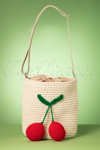 50s Cherry Crochet Shoulder Bag in Natural