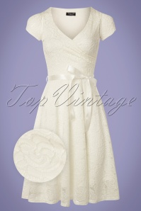 50s Dorien Lace Swing Dress in Ivory