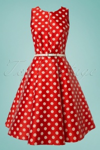 50s Goldy Polkadot Panel Swing Dress in Red