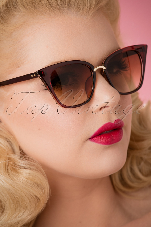 Unique Retro Vintage Style Sunglasses & Eyeglasses 50s Flirty Jess Sunglasses in Brown £19.61 AT vintagedancer.com