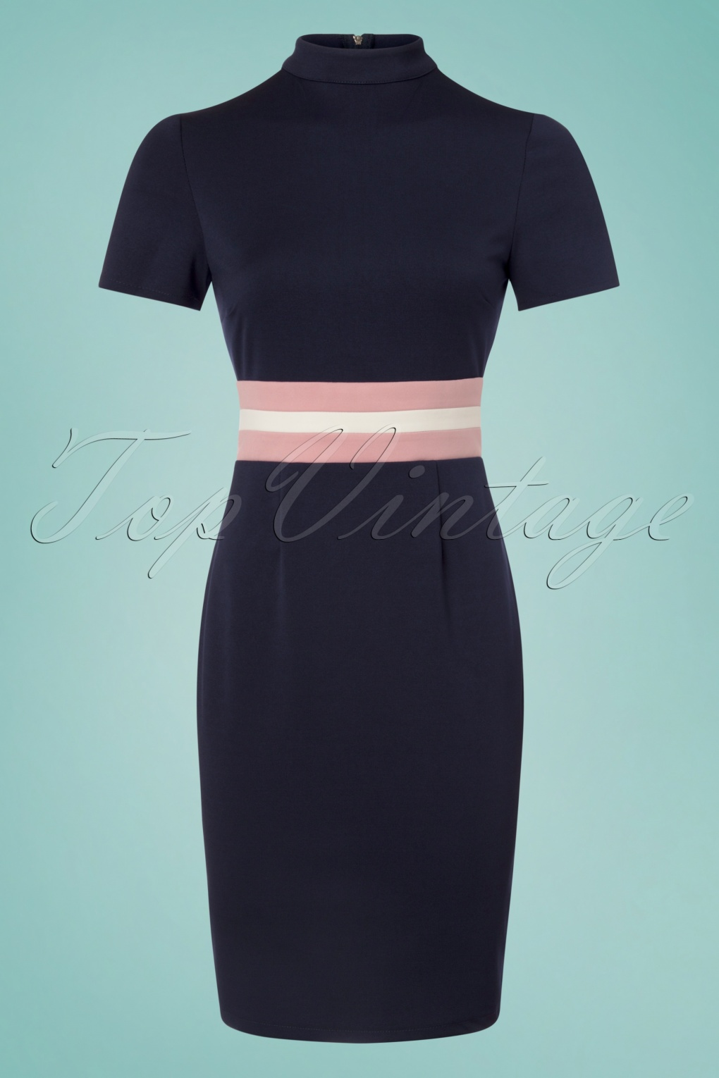 1960s Dresses – A Rainbow of 50 Dresses (Pictures) 60s Mink Waist Pencil Dress in Navy £48.10 AT vintagedancer.com
