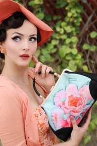 50s Idda Floral Retro Handbag in Light Blue