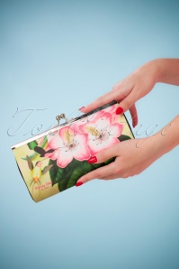 50s Libre Floral Retro Clutch in Yellow