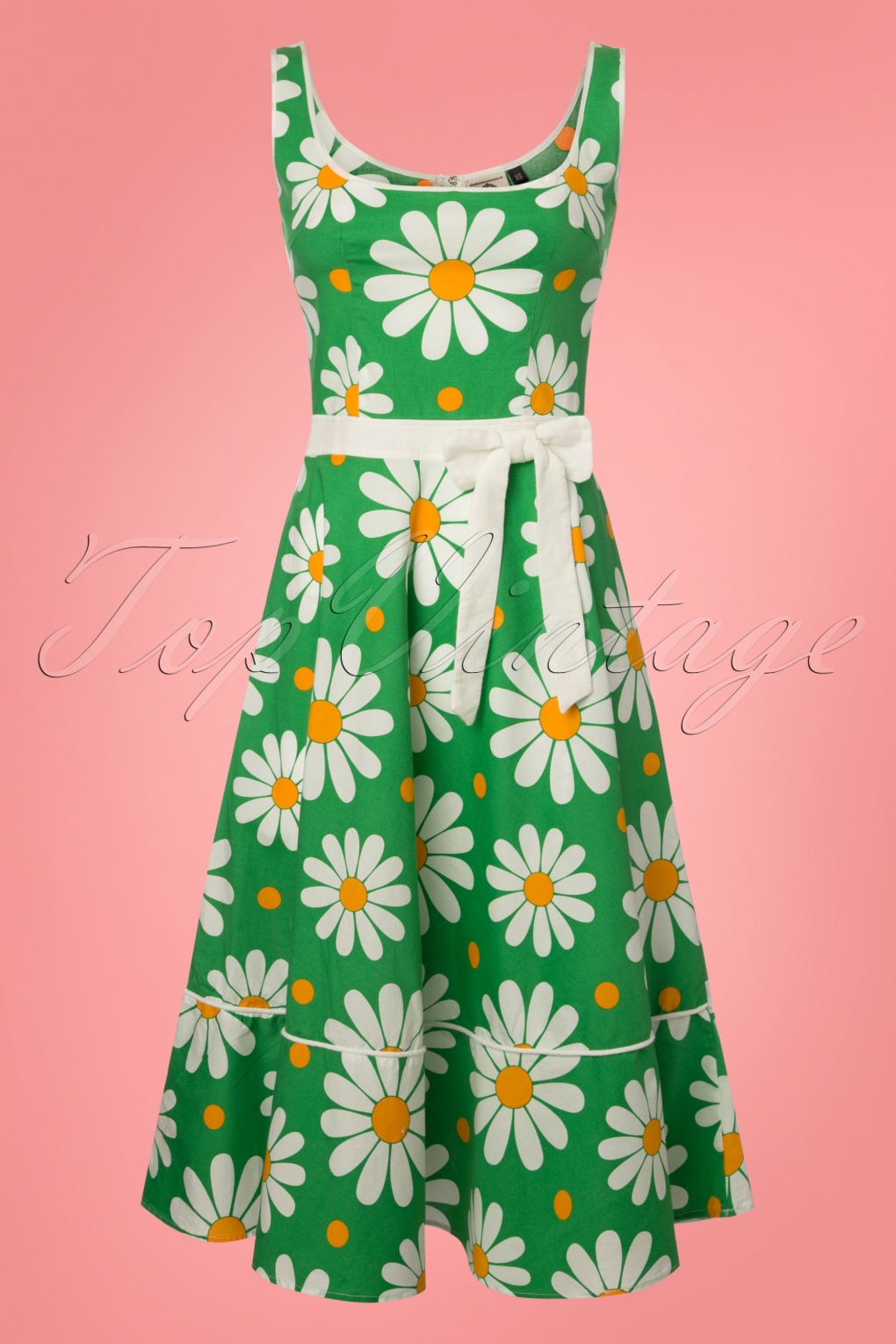 1960s Dresses: New 60s Style Dresses – Jackie O to Mod 60s Crazy Daisy Sundress in Green £60.09 AT vintagedancer.com