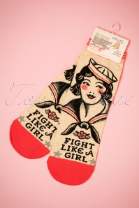 50s Fight Like A Girl Ankle Socks