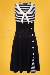 Vera Nautical Flared Sailor Dress Années 50 en Bleu Marine