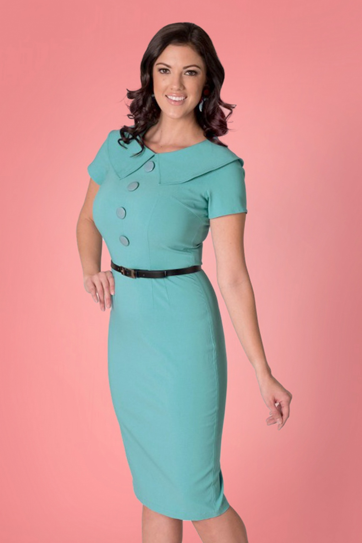 1950s Inspired Fashion: Recreate the Look 50s Rita Pencil Dress in Aqua Blue £105.14 AT vintagedancer.com