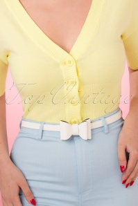 50s Cute Bow Belt in White