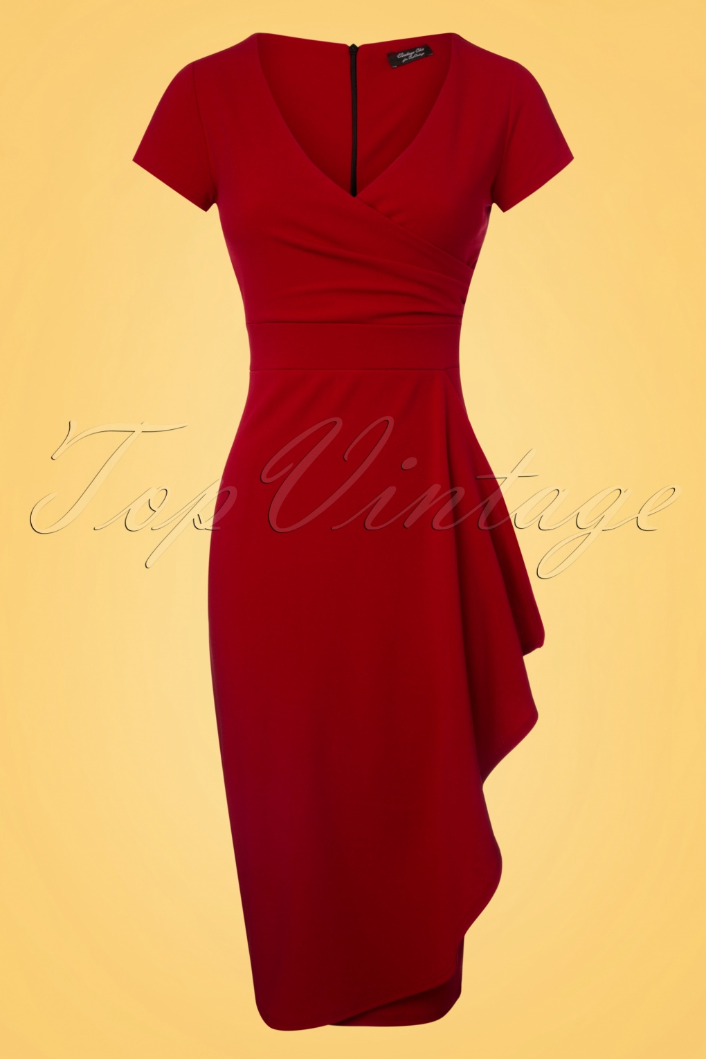 Vintage 50s Dresses: 8 Classic Retro Styles 50s Crystal Pencil Dress in Lipstick Red £48.62 AT vintagedancer.com