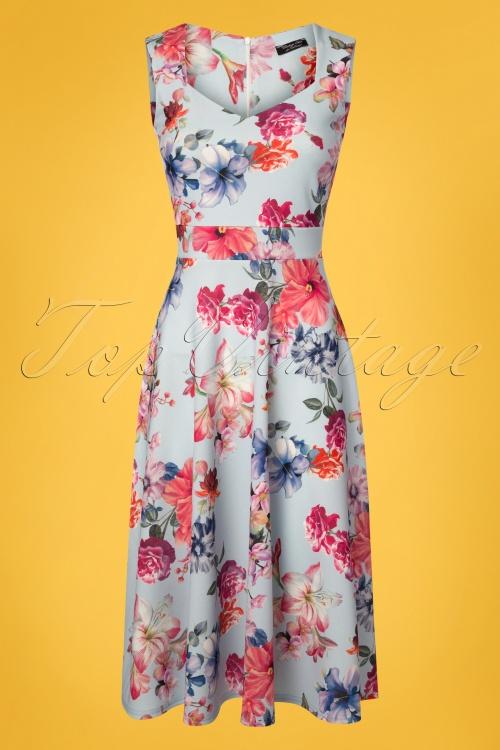Vintage Chic 50s Veronica Blue Floral Dress 102 39 25969 20180516 0001W