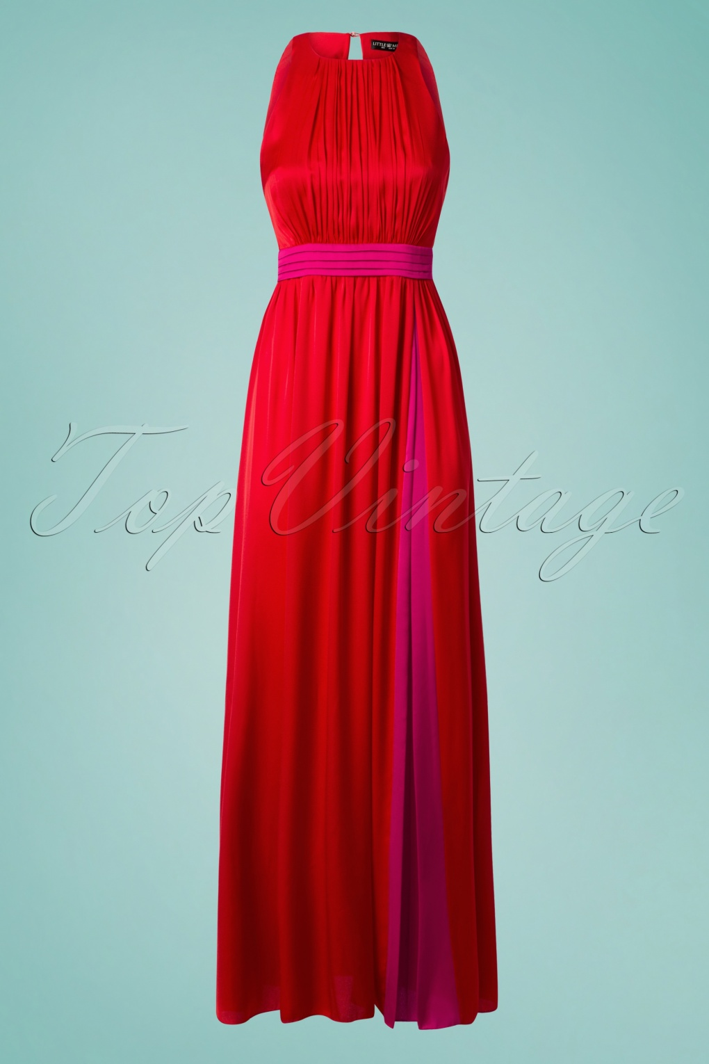 50s Charlotte Satin Maxi Dress in Red and Pink