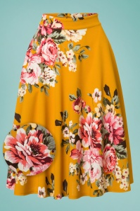 50s Flora Floral Thrills Skirt in Mustard
