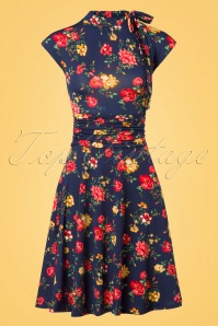 50s Audrey Floral Bombshell Dress in Navy