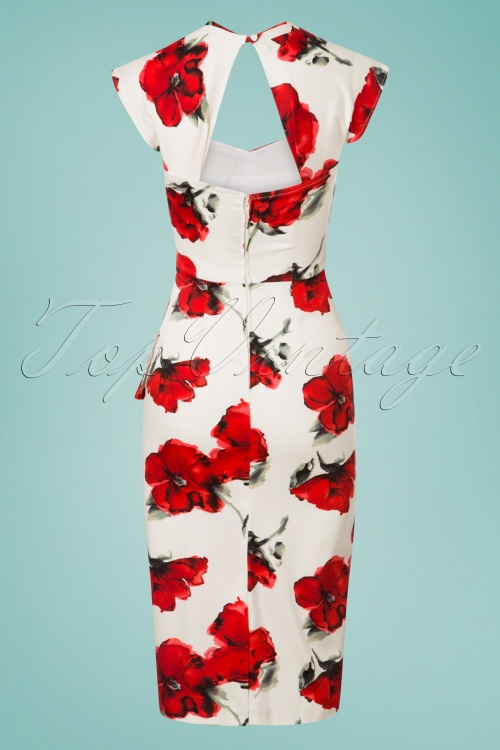 50s Uma Flower Pencil Dress in Cream