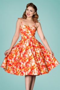 Sheen Orange Floral Swing Dress 102 28 26113 20180529 01