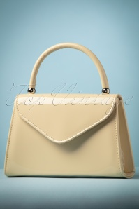 60s Lillian Lacquer Flap Bag in Beige