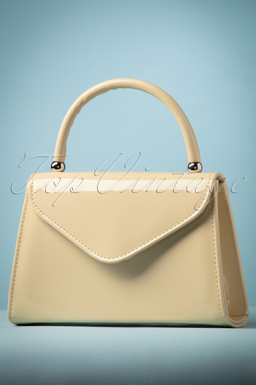 Vintage & Retro Handbags, Purses, Wallets, Bags 60s Lillian Lacquer Flap Bag in Beige £21.87 AT vintagedancer.com
