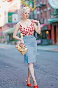 Banned Retro Guideing Light Pencil Skirt Années 50 en Blue Ciel