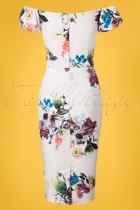 Little Mistress Creme Floral Pencil Dress 100 57 24439 20180531 0005W