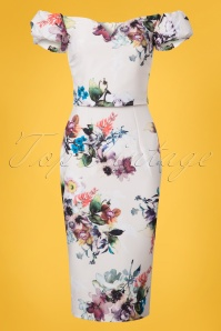 Little Mistress Creme Floral Pencil Dress 100 57 24439 20180531 0001W
