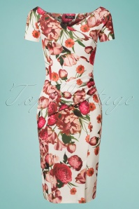 50s Bardot Flower Pencil Dress in Ivory