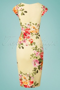 Vintage Chic Lemon Floral Pencil Dress 100 89 26107 20180531 0005W