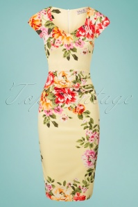 Vintage Chic Lemon Floral Pencil Dress 100 89 26107 20180531 0002W