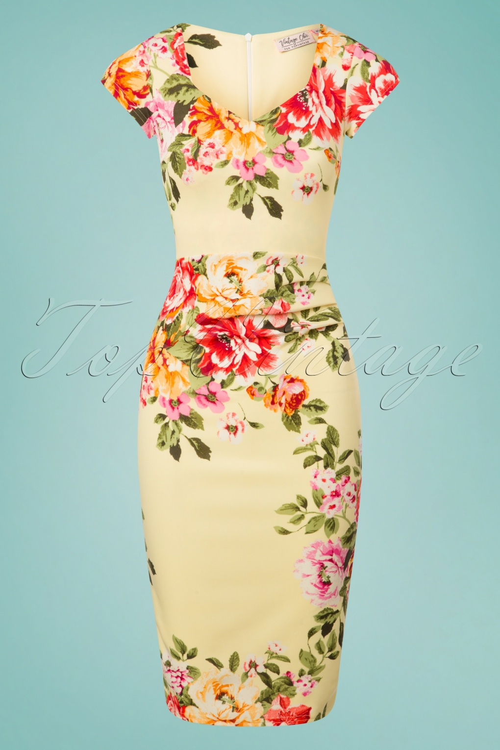 Wiggle Dresses | Pencil Dresses 40s, 50s, 60s 50s Yana Flower Pencil Dress in Pastel Yellow £34.70 AT vintagedancer.com