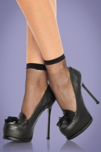 50s Fishnet Ankle Socks in Black