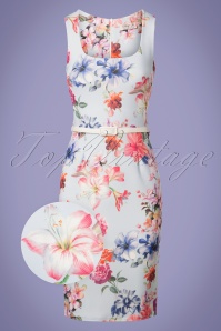 Vintage Chic Blue Floral Pencil Dress 100 39 26092 20180531 0001wv