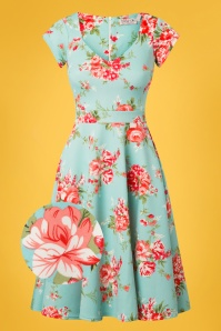 Vintage Chic Floral Blue Swing Dress 102 39 25541 20180531 0002wv