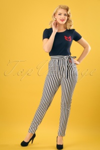 Collectif Clothing Kloma Striped Trousers in Navy and White 22829 20171120 0010w