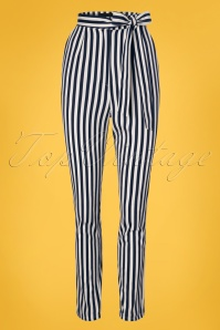Collectif Clothing Kloma Striped Trousers in Navy and White 22829 20171120 0003w