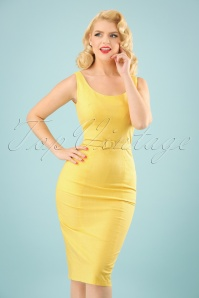 Collectif Clothing Ines Plain Pencil Dress in Yellow 22841 20171120 0011w