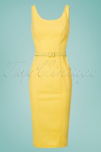 Collectif Clothing Ines Plain Pencil Dress in Yellow 22841 20171120 0004w